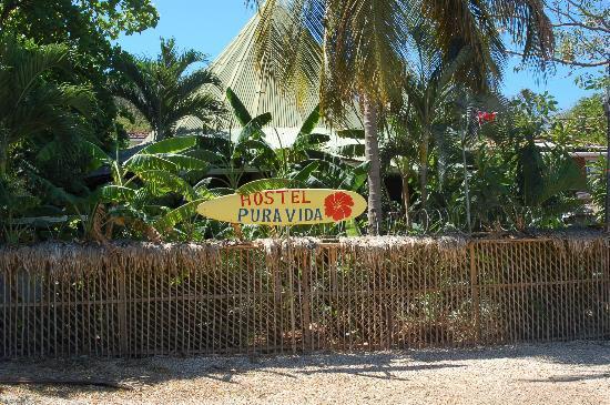 Pura Vida Hostel: Hostel's sign