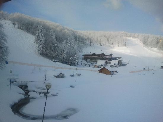 Hotel Cristallo: Lago ghiacciato e piste viste dall'hotel