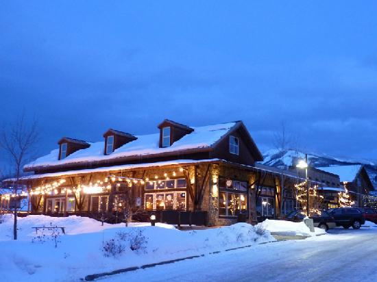 Outside the Rusted Porch Restaurant, just 2 minutes from the Steamboat Ski Area (background) and