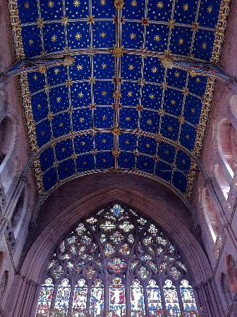 Carlisle Cathedrals medieval stained glass and the spectacular gold star ceiling.
