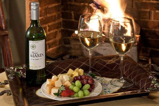The Wayside Inn: wine and cheese by the fire