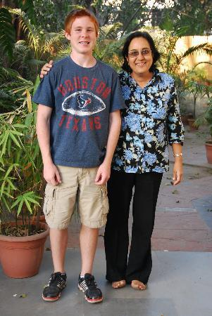 Saubhag Bed and Breakfast: Meera with my son Jonathan
