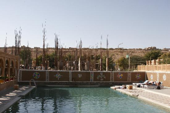 Mahadev Palace: Construction site next to pool