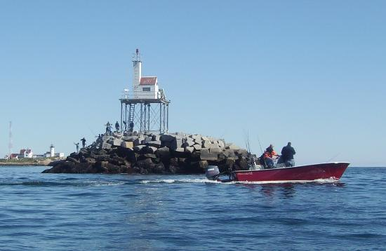 Eastern Point Lighthouse: End of the Breakwater, Lighthouse at Left