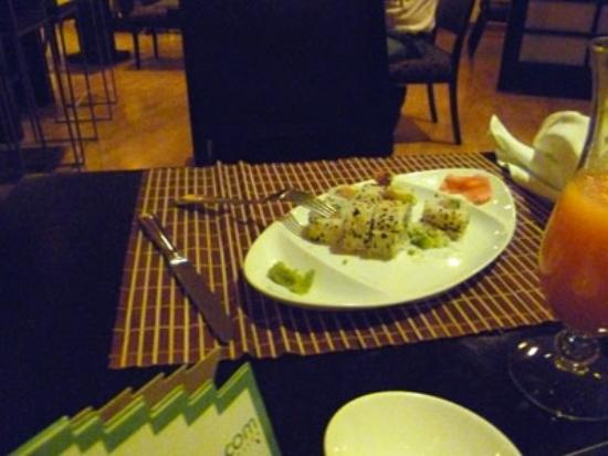 Real InterContinental Guatemala: Unfamiliar with Japanese food, our colleague thought that the green stuff next to his sushi was