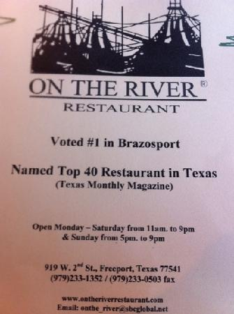 On The River Restaurant In Freeport Tx Menu