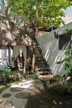 Amar Inn B&B: Palapa with hammocks and stairs to the ocean room