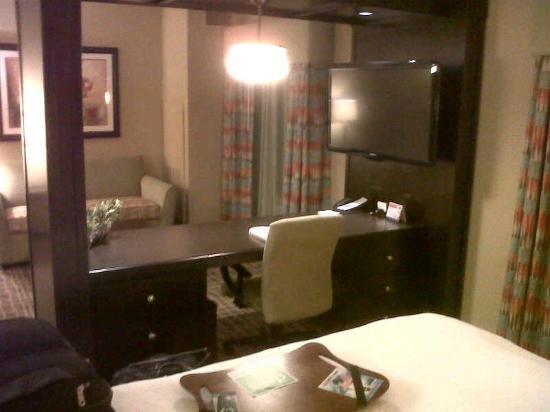 Hampton Inn & Suites Sarasota/Lakewood Ranch : Studio Suite view showing divider desk and sofa area