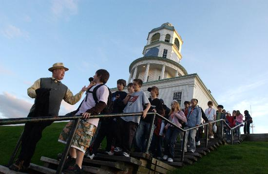 Ghost Walk of Historic Halifax: Andy Smith leading a school group from the Old Town Clock, Halifax, Nova Scotia, Canada