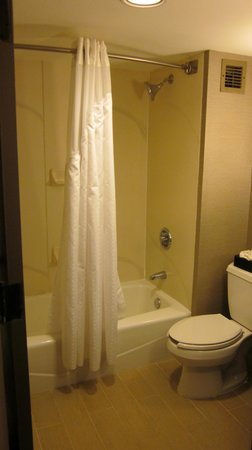 Holiday Inn Express Burlington: Dated shower/tub with new shower curtain and curved shower curtain rod