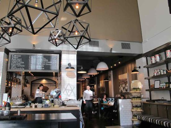 Borgo: Central prep area; overhead chalkboard beverage list