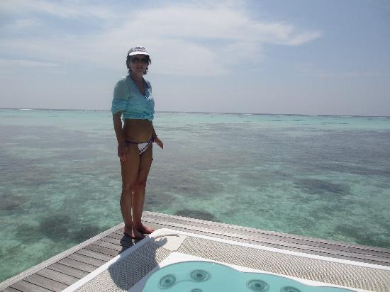 Conrad Maldives Rangali Island: Sunset view from our Water Villa deck