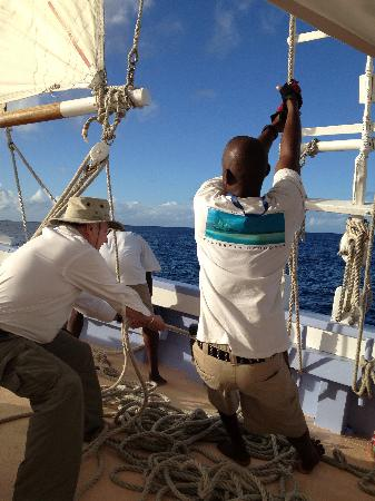 Friendship Rose Sailing Schooner: Helping the crew on deck