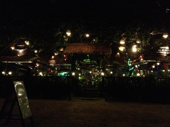 New Hut Cafe: View from the beach at night
