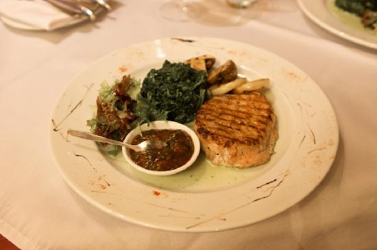 Restaurant Blues: The Blues: barbecue pork with spinach