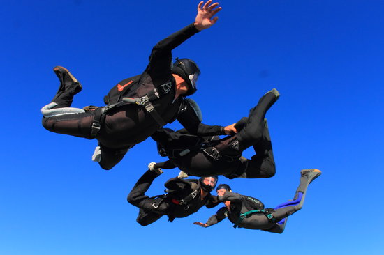 A 4-way formation skydive over Chicagoland Skydiving Center in Rochelle, IL