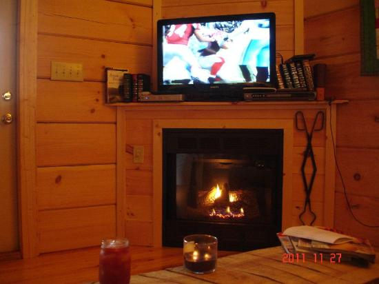 Cabins of Asheville: Fireplace and flat screen :) Perfect for Sunday football!