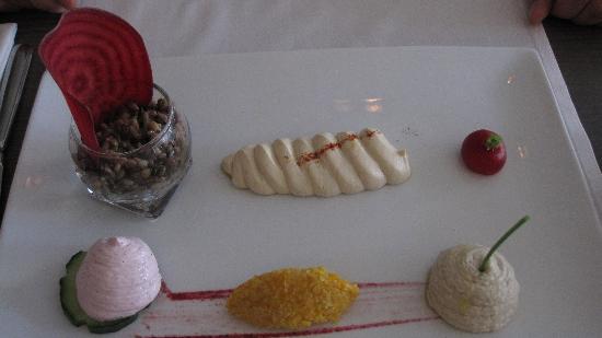 Mazaj: hummus motabal and yugurt