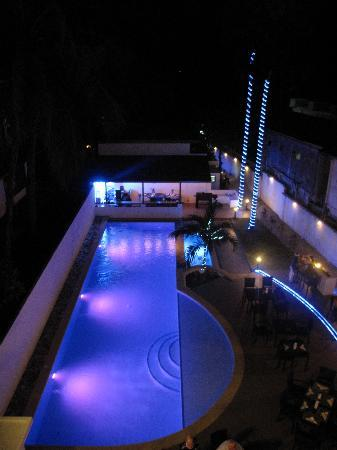 Out of the Blue Resort: The New Pool at night.