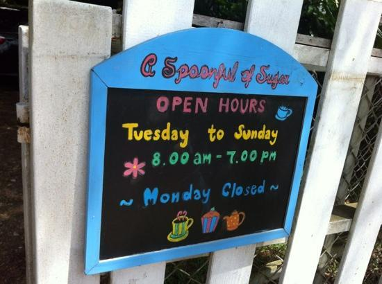A Spoonful of Sugar: opening hours