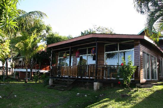 Caribbean Cottage Club : The front of the two cabins where we stayed.  Excellent accomodations.