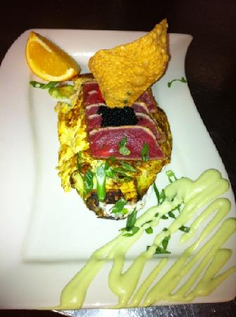 Village Cafe and Bistro: ahi tuna, wasabi omelet, caviar, eggs, goat cheese with avocado.  I opted out of toast and homef