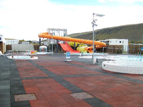 Lagafellslaug in Mosfellsbaer: The pool slide