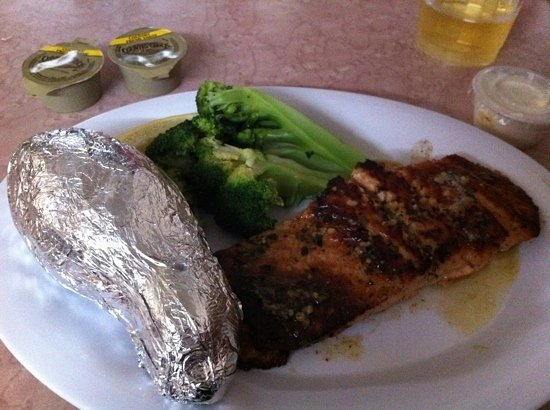 Skip One Beach Seafoods : Grilled salmon special, broccoli, baked potato
