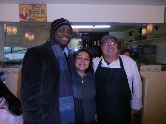 American Grill and Pizza : Us with the owner, Georgios