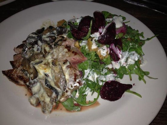 Bankers Hill: Seared NY Strip, its served with Beet and Arugula Salad, Pickled Onions, Blue Cheese, Mushrooms