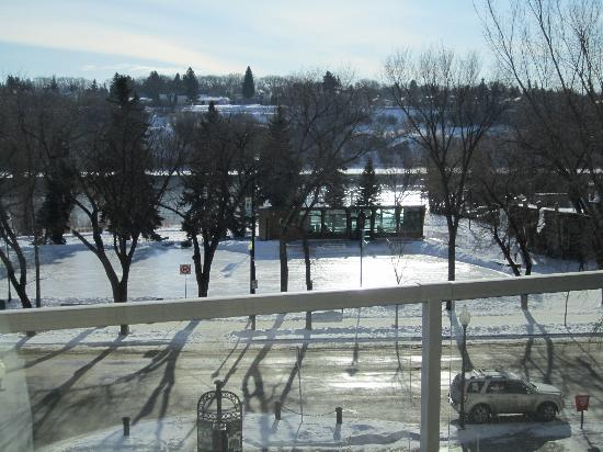 The James Hotel: View of the Saskatchewan River on a sunny Sunday morning.