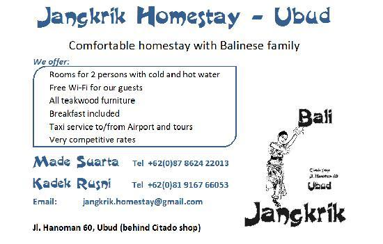 Jangkrik Homestay: Our full address info