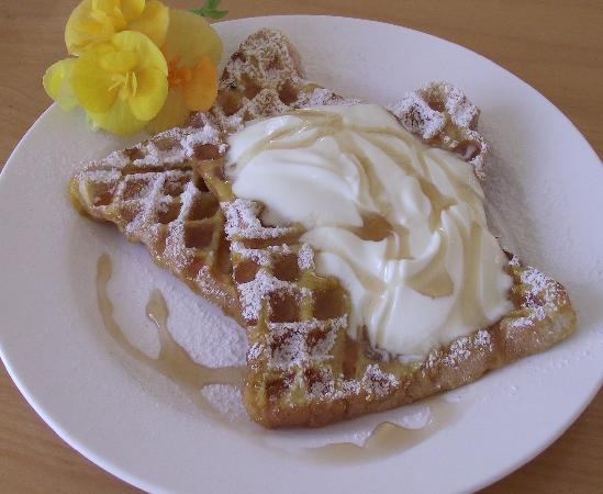 Kamahi Cottage: Breakfast waffles
