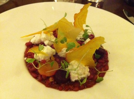 The Cottage in the Wood: great opening course , beetroot, spelt , kurthwaite goats curd, micro rocket