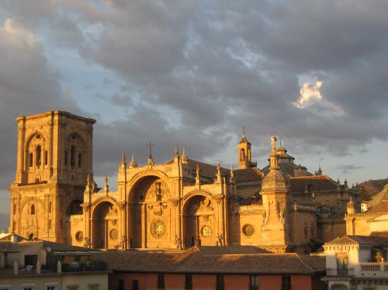 Los Tilos: Catedral at sunset from 4th floor balcony