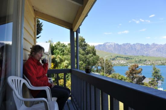 Colonial Village Motel: my wife on the balcony
