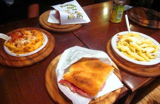 Salumeria Verdi: pasta or sandwich? couldn't chose, just got both! SO AFFORDABLE!