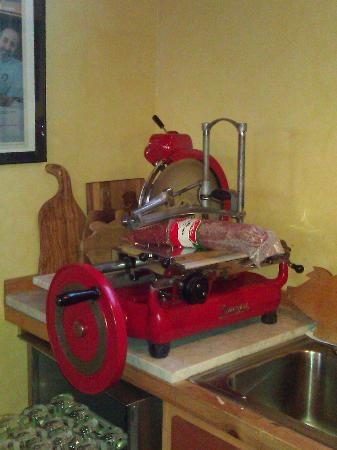 Hood River, OR: meat slicer in a winery..of course!