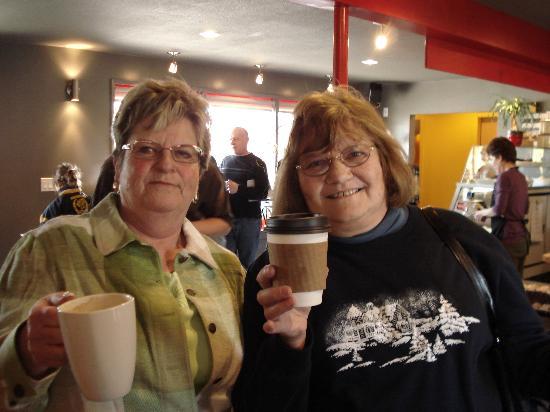 Good Omens Coffeehouse : My Mom and Aunt enjoying a coffee!