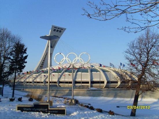 The Montreal Tower / La Tour de Montreal: Front view of Olympic Stadium and Tower
