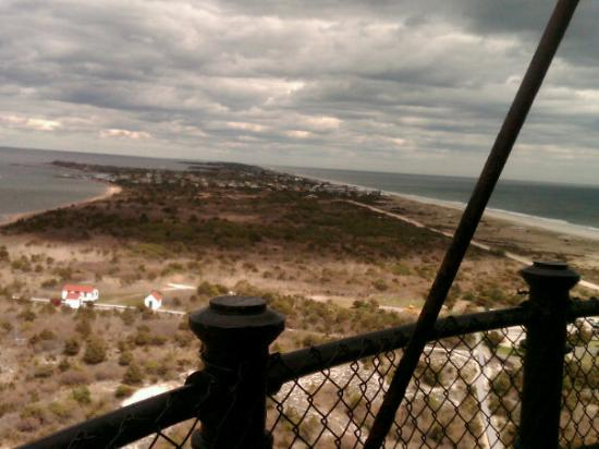 Fire Island National Seashore: Southeast view from the top of the Fire Island Lighthouse - April, 2010