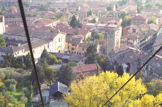 Church of St. Augustine (Sant'Agostino): View of Sant' Agostino & Porta Romana tower from the Funivia