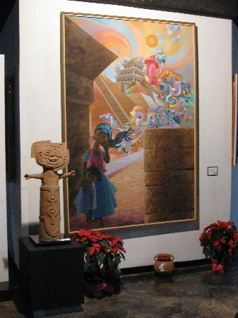 "Museo Teodoro Cano : ""City of the Gods"" painting with sculpture, near the front"