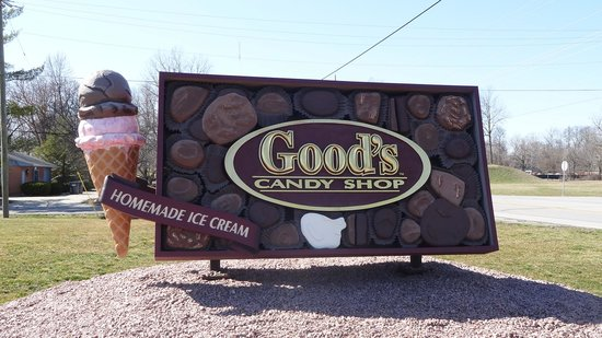 Good's Candy Shop: Look for oversized candy box & ice cream cone sign