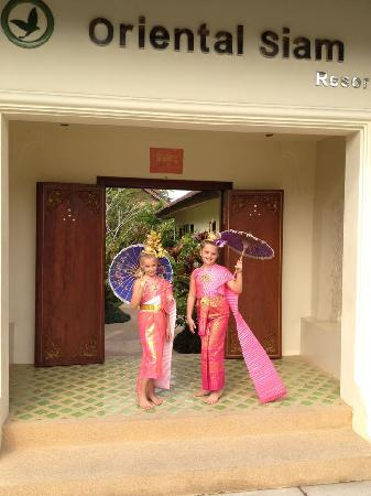 Oriental Siam Resort: Our kids dressed as Thai dancers