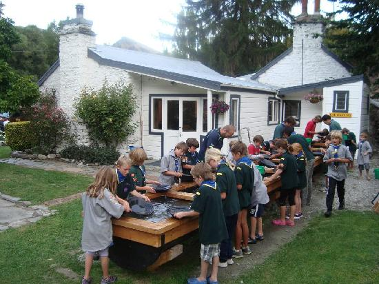 Dudley's Cottage Arrowtown: Local scout group gold panning @ Dudley's Cotage
