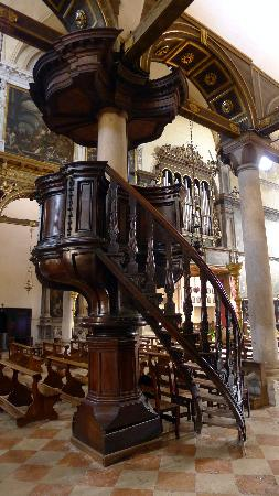 Chiesa Di Santa Maria Dei Carmini: Nice Curved Staircase Pulpit At Ornate  Ceiling At Santa