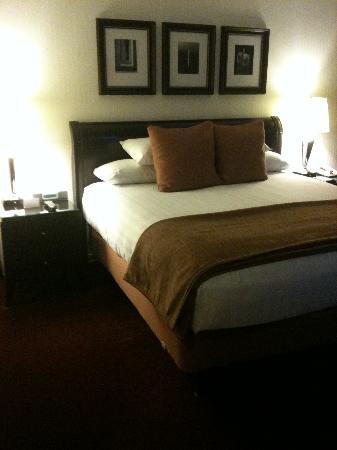 Hyatt Regency Bethesda: Bed view with iHome