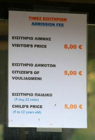 Vouliagmeni, Greece: Entrance fee