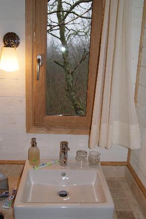 Salle de bain avec douche à l'italienne et vue sur les alentours